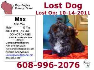 Max missing from Bagley Wisconsin