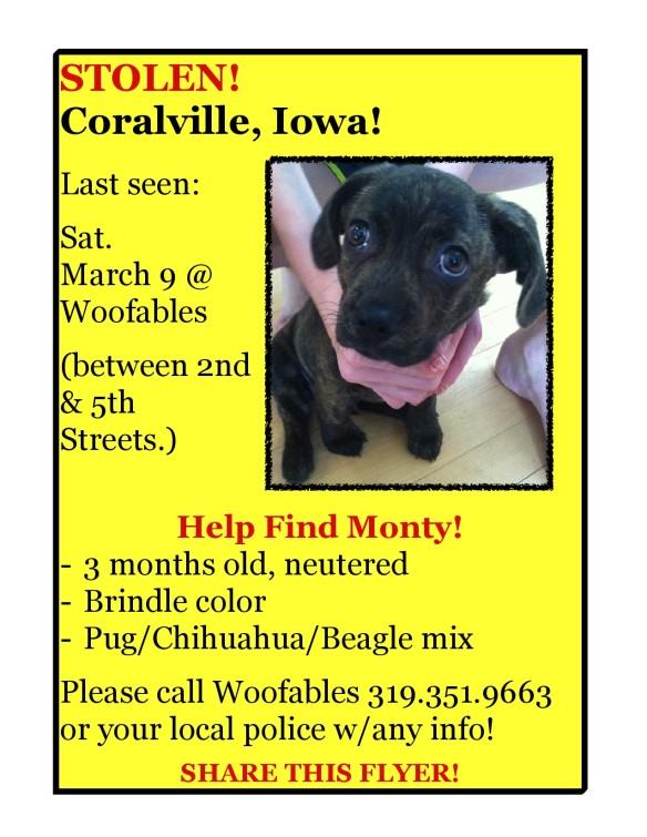 Monty stolen from Coralville Iowa