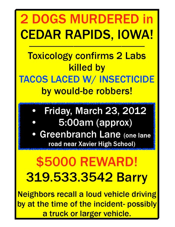 Dogs in Cedar Rapids Iowa killed by laced tacos