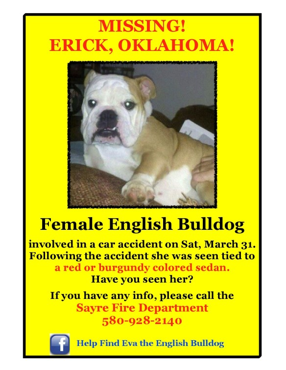 Eva missing from car accident in Erick OK